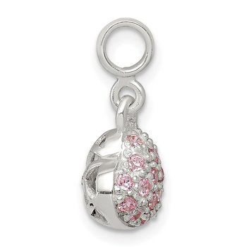 Sterling Silver Pink CZ Puffed Heart Enhancer