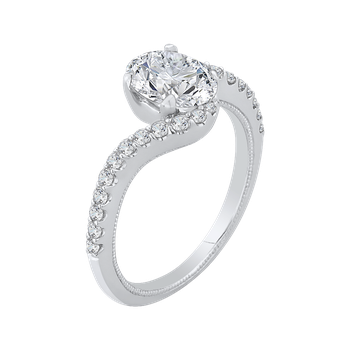 18K White Gold Oval Cut Diamond Promise Engagement Ring (Semi-Mount)