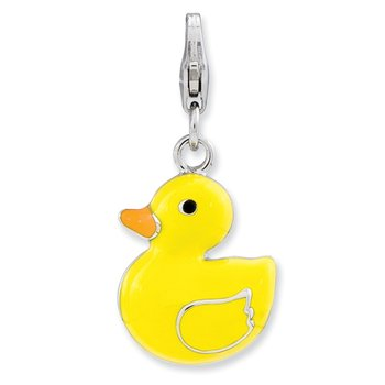 Sterling Silver RH Enameled 3-D Duck w/Lobster Clasp Charm
