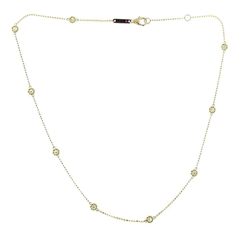 18KT YELLOW GOLD NECKLACE WITH 9 DIAMOND STATIONS