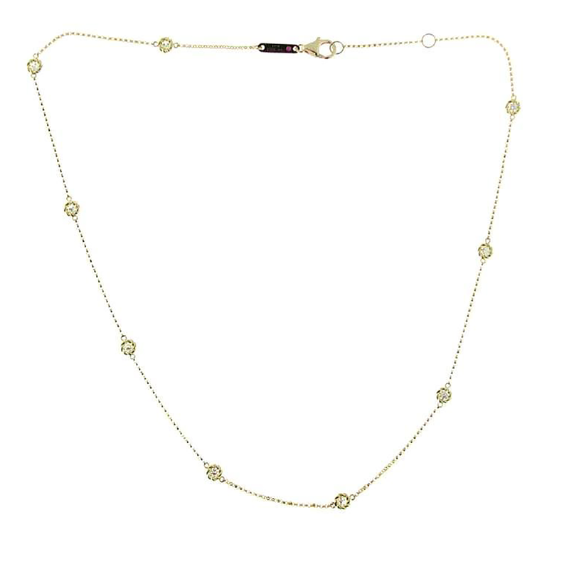 Roberto Coin 18Kt Yellow Gold Necklace With 9 Diamond Stations