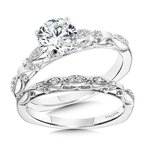 Valina Bridals Vintage Milgrain & Filigree Accented Diamond Engagement Ring