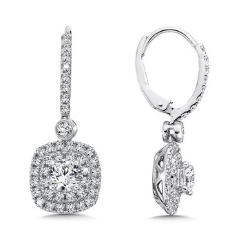 Diamond Drop Earrings with Double Cushion-Shaped Halo in 14K White Gold with Platinum Post (1ct. tw.)