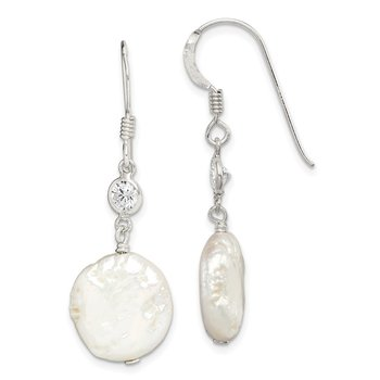 Sterling Silver FW Cultured Coin Pearl and CZ Earrings