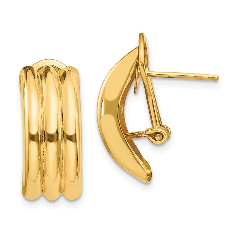 Quality Gold 14k Omega Post Earrings