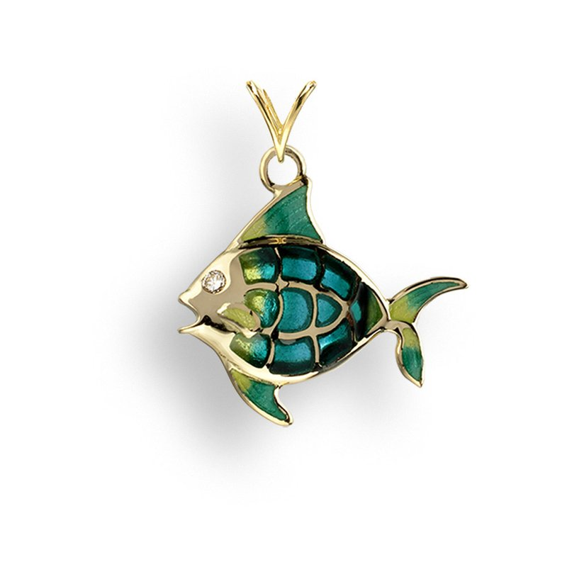 Nicole Barr Designs Turquoise Angel Fish Pendant.18K -Diamond - Plique-a-Jour