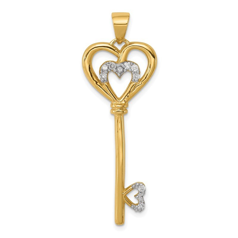 Quality Gold Sterling Silver with vermeil CZ Heart within Silver Heart Key Pendant