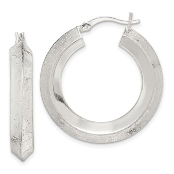 Sterling Silver Textured Polished 5.5x30mm Knife-edge Hoop Earrings