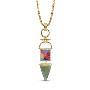 LuvMyJewelry Vibrant Mosaic & Prehnite Splashy Flashy Pendant in Sterling Silver & 14 KT Yellow Gold Plating