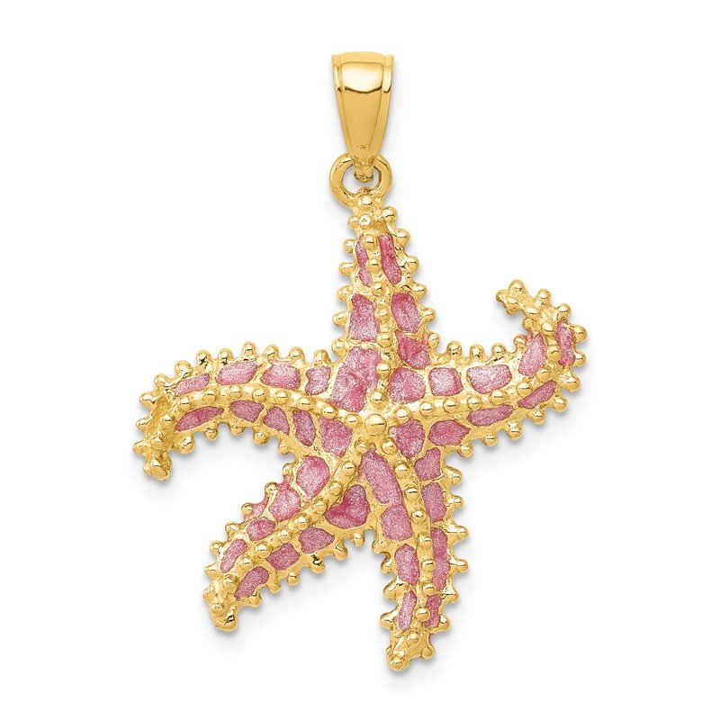 Fine Jewelry by JBD 14K Pink Enameled Starfish Pendant