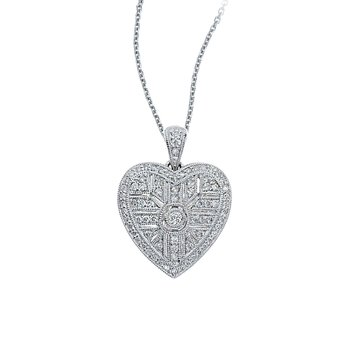 14K White Gold Art Deco Heart Diamond Pendant (.52 carat)