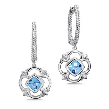 Sterling Silver Fleur De Lis Blue Topaz Dangle Hoop Earrings