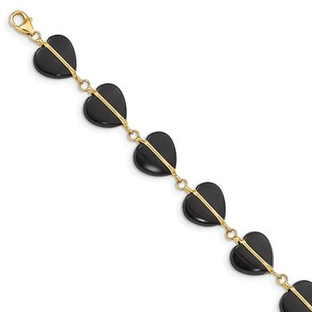 14k Black Onyx Hearts 7in Bracelet