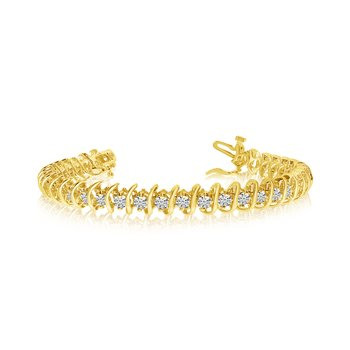 "14K Yellow Gold Rollover ""S"" Illusion Diamond Bracelet"