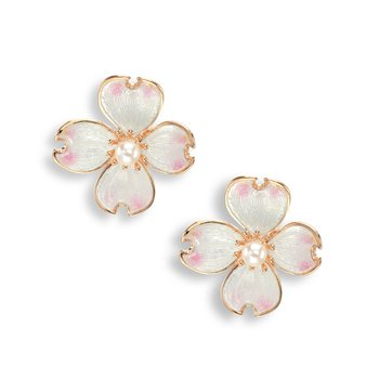 White Dogwood Stud Earrings.Rose Gold Plated Sterling Silver-Akoya Pearls