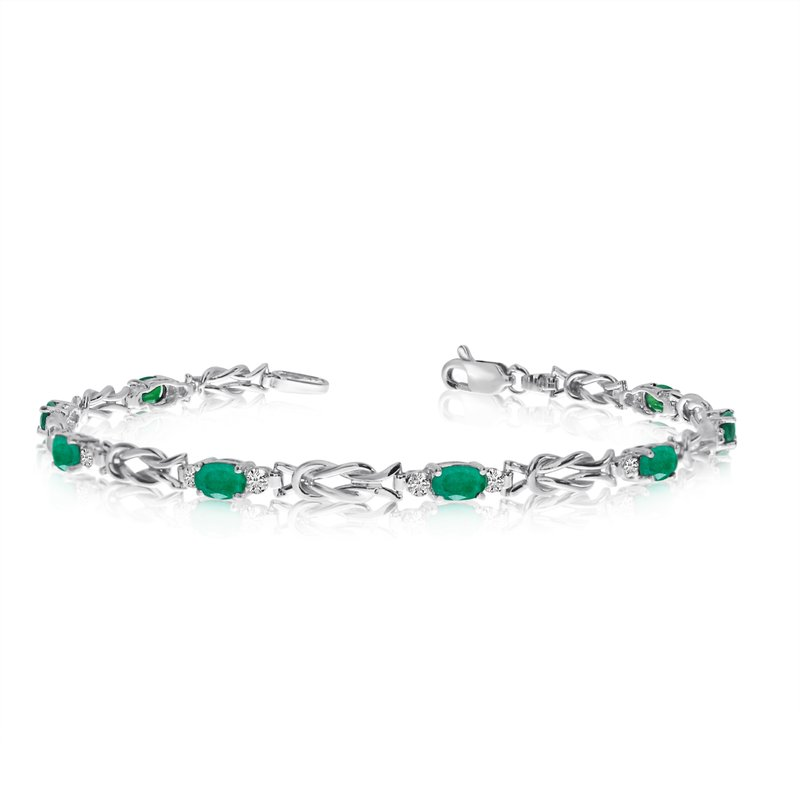 Color Merchants 14K White Gold Oval Emerald and Diamond Bracelet