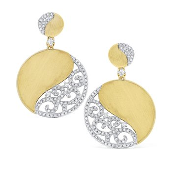 14K Diamond Swirl Circle Earrings