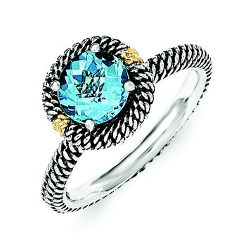 Sterling Silver w/14k Round Blue Topaz Ring