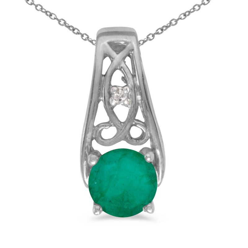 Color Merchants 14k White Gold Round Emerald And Diamond Pendant