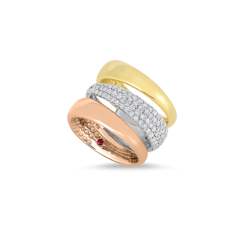 Roberto Coin 18Kt Gold 3 Row Ring With Diamonds