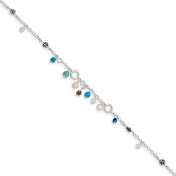 Sterling Silver Turquoise/Clear Bead/FW Cultured Pearl Anklet