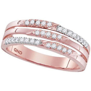 10kt Rose Gold Womens Round Diamond 3-row Band Ring 1/5 Cttw