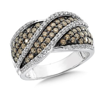Pave set, Wave Design Cognac and White Diamond Fashion Ring in 14k White Gold (1.10 ct.tw.)