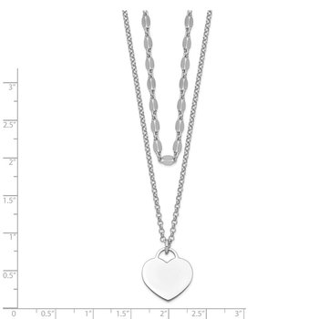 Sterling Silver RH-plated 2-Strand Heart w/4in ext Choker Necklace