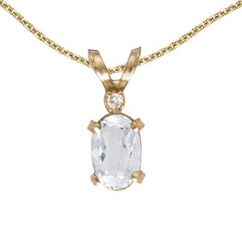 14k Yellow Gold Oval White Topaz And Diamond Filagree Pendant