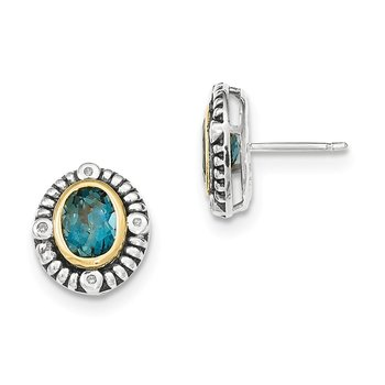 Sterling Silver w/14k London Blue Topaz w/Diamond Post Earrings