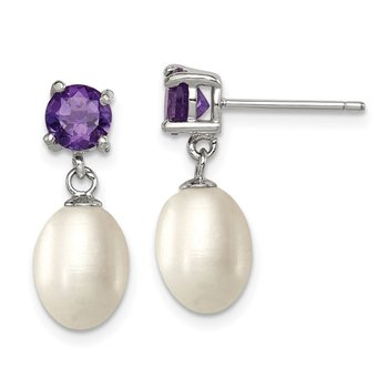 Sterling Silver RH Amethyst 7-8mm FW Cult Pearl Teardrop Earrings