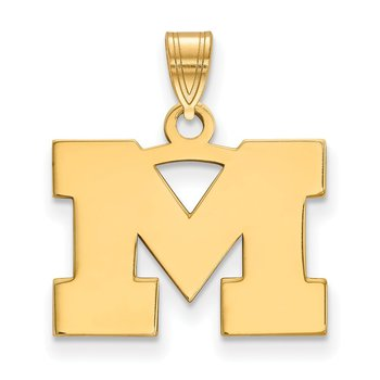 Gold-Plated Sterling Silver University of Michigan NCAA Pendant