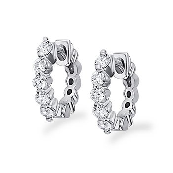 Diamond Mini Hoop Earrings in 14k White Gold with 10 Diamonds weighing .25ct tw.