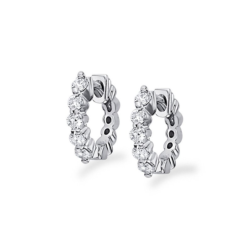 KC Designs Diamond Mini Hoop Earrings in 14k White Gold with 10 Diamonds weighing .25ct tw.