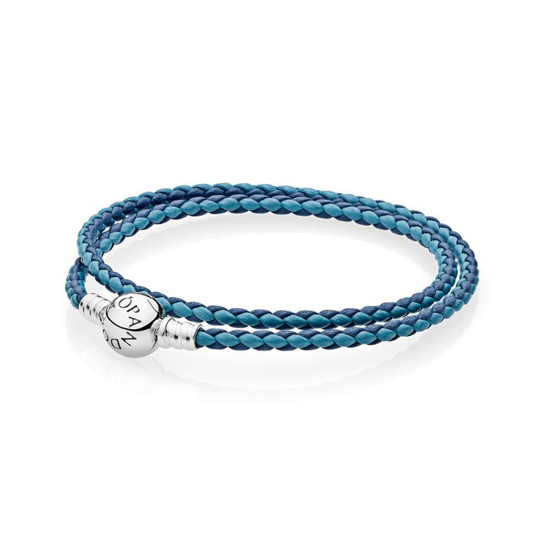 PANDORA Mixed Blue Woven Double-Leather Charm Bracelet