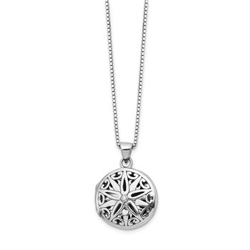 Sterling Silver White Ice .01ct Diamond Star Round Locket Necklace