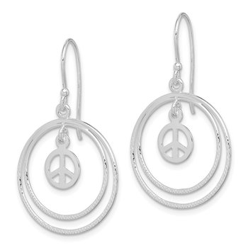 Sterling Silver Circles w/ Small Peace Symbol Dangle Earrings