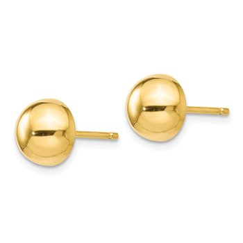 Leslie's Sterling Silver Gold-plated Polished 8-9mm Button Earrings