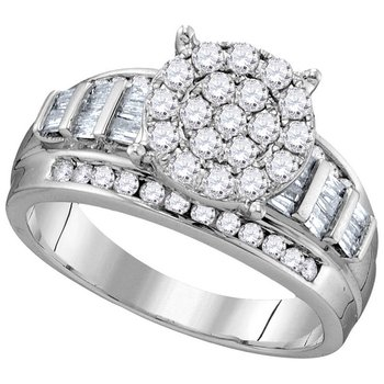 10kt White Gold Womens Round Diamond Cindys Dream Cluster Bridal Wedding Engagement Ring 1.00 Cttw - Size 6