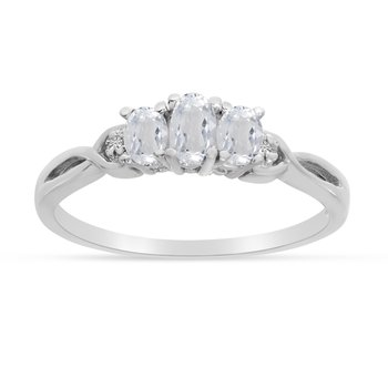 10k White Gold Oval White Topaz And Diamond Three Stone Ring
