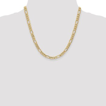 14k 6.25mm Semi-Solid Figaro Chain