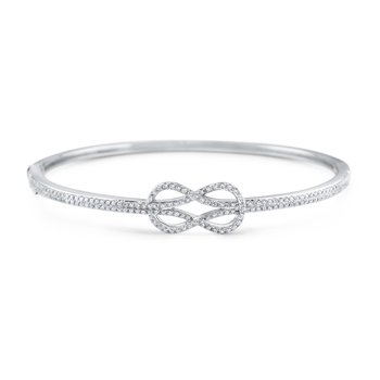 14K Diamond Love Knot Bangle