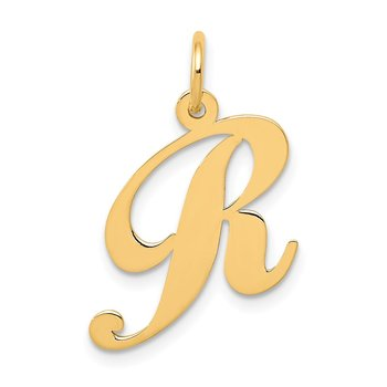 14K Medium Fancy Script Letter R Initial Charm