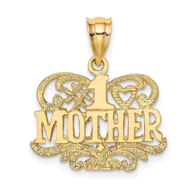 Quality Gold 14K Polished & Textured #1 Mother Pendant