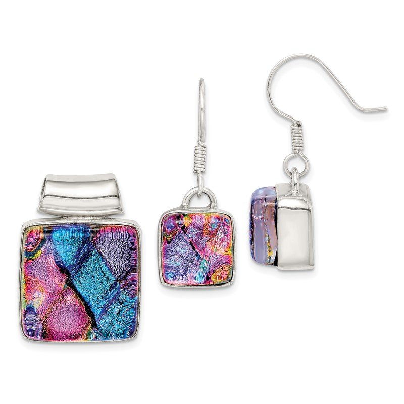 Sterling Silver Pink and Blue Dichroic Glass Square Earrings and Pendant Se