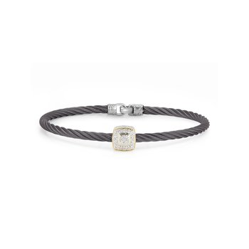 Steel Grey Cable Essential Stackable Bracelet with Single Large Square Diamond station set in 18kt Yellow Gold