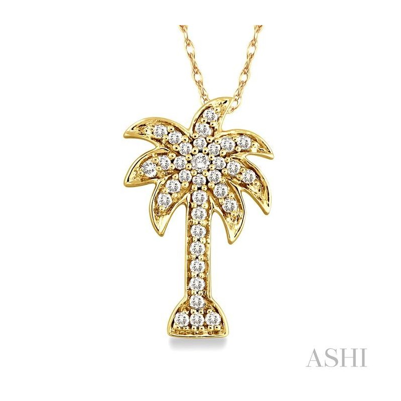 Gemstone Collection palm tree diamond pendant