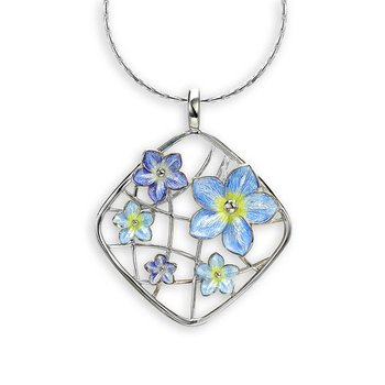 Blue Forget-Me-Not Necklace.Sterling Silver
