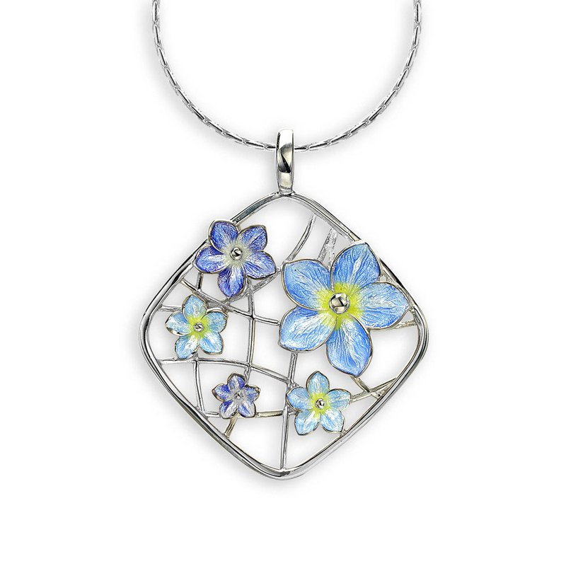 Nicole Barr Designs Blue Forget-Me-Not Necklace.Sterling Silver