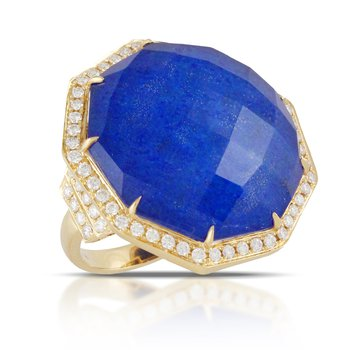 Royal Lapis Diamond Halo Ring
